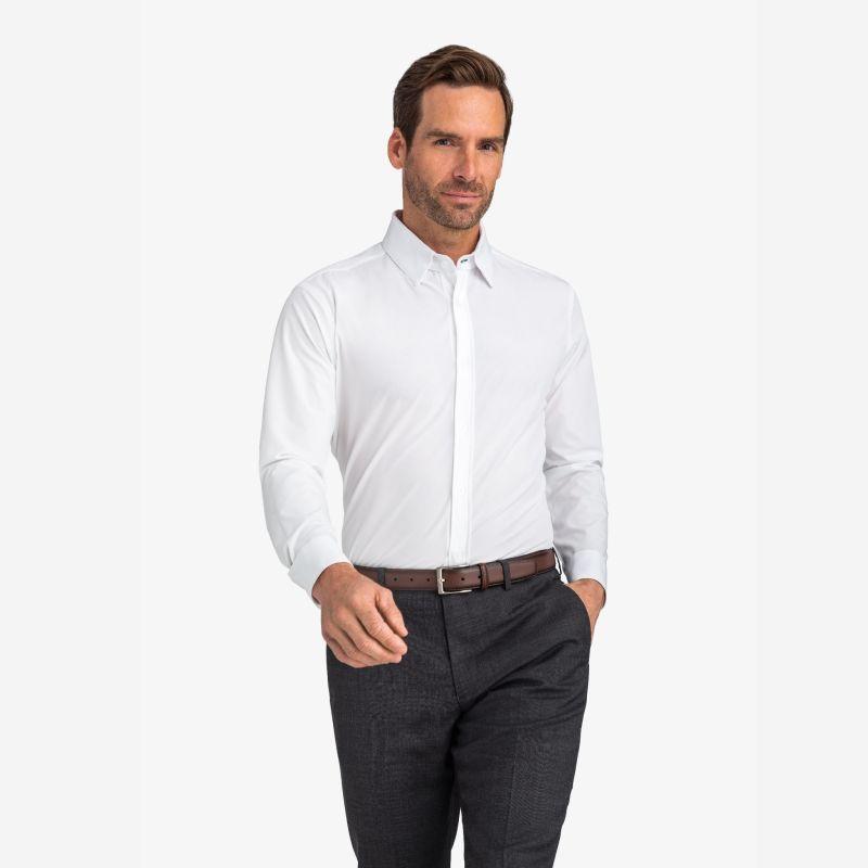 Leeward Formal Dress Shirt - White Solid, lifestyle/model