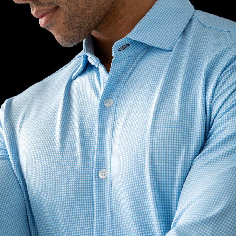 Spinnaker Dress Shirt - Light Blue Gingham, lifestyle/model