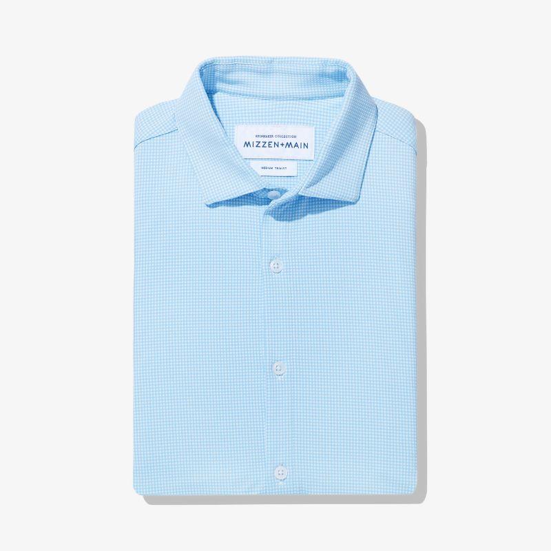 Spinnaker Dress Shirt - Light Blue Gingham, featured product shot