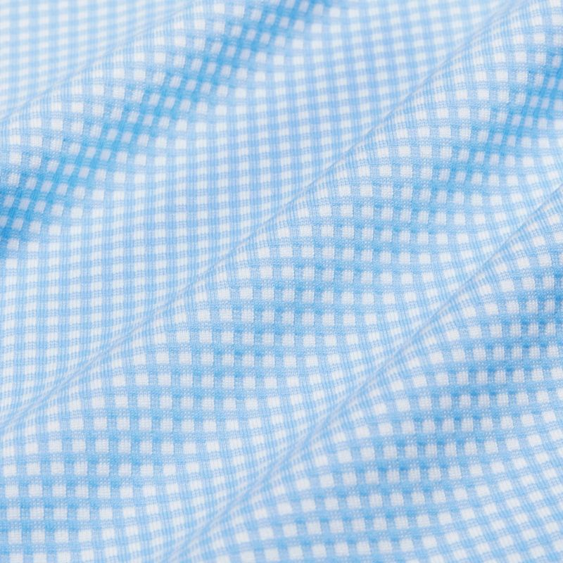 Spinnaker Dress Shirt - Light Blue Gingham, fabric swatch closeup