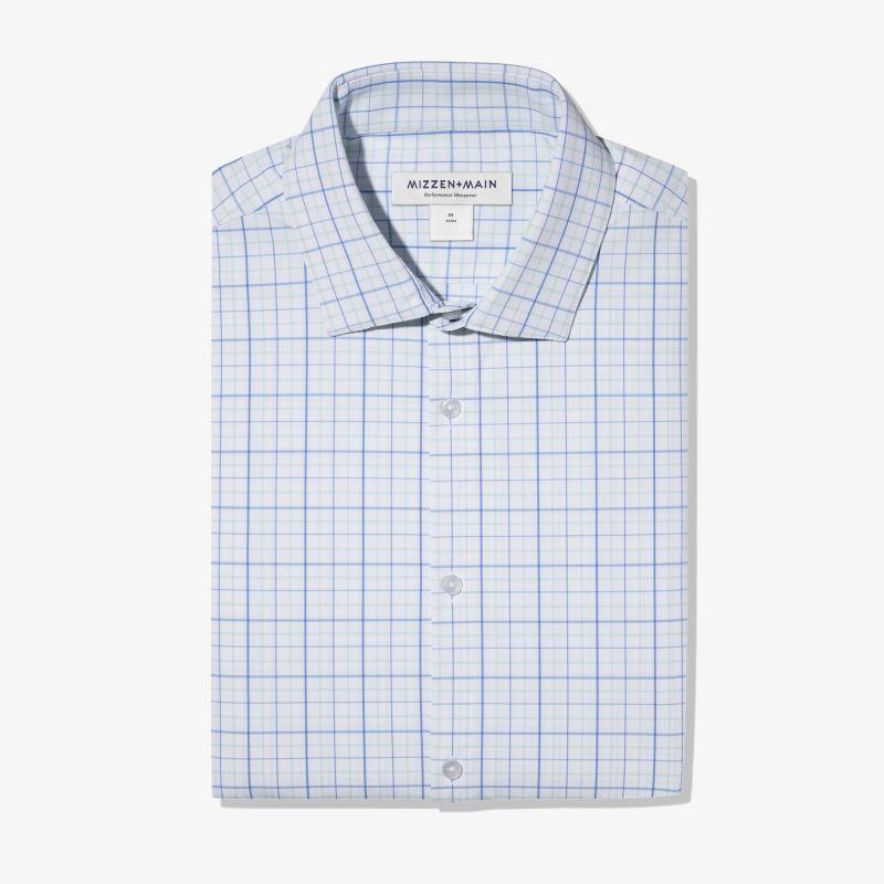 Leeward Dress Shirt - Aqua Blue Tattersall, featured product shot