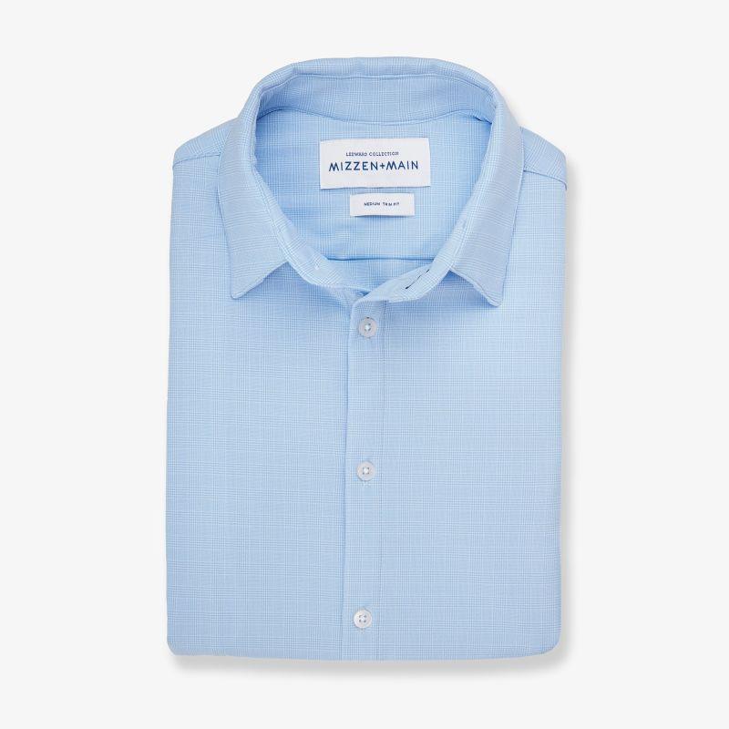 Textured Dress Shirt - Light Blue GlenPlaid, featured product shot