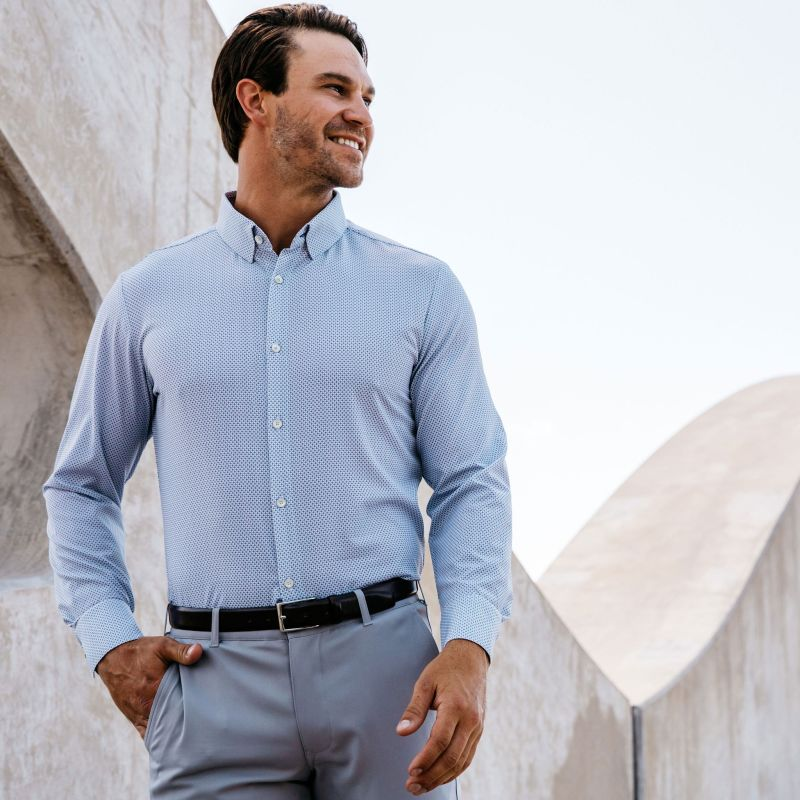 Leeward Dress Shirt - Navy Gray Geo Print, lifestyle/model