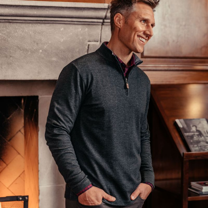 Fairway Pullover - Charcoal Heather, lifestyle/model