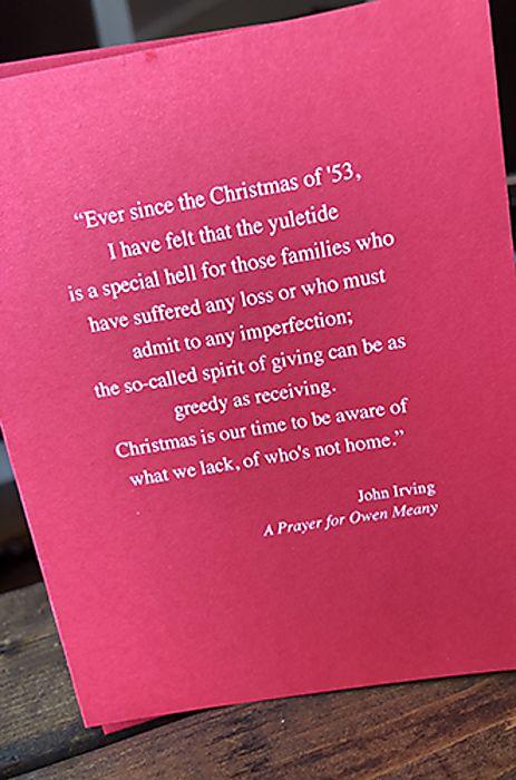 John Irving - Holiday Card
