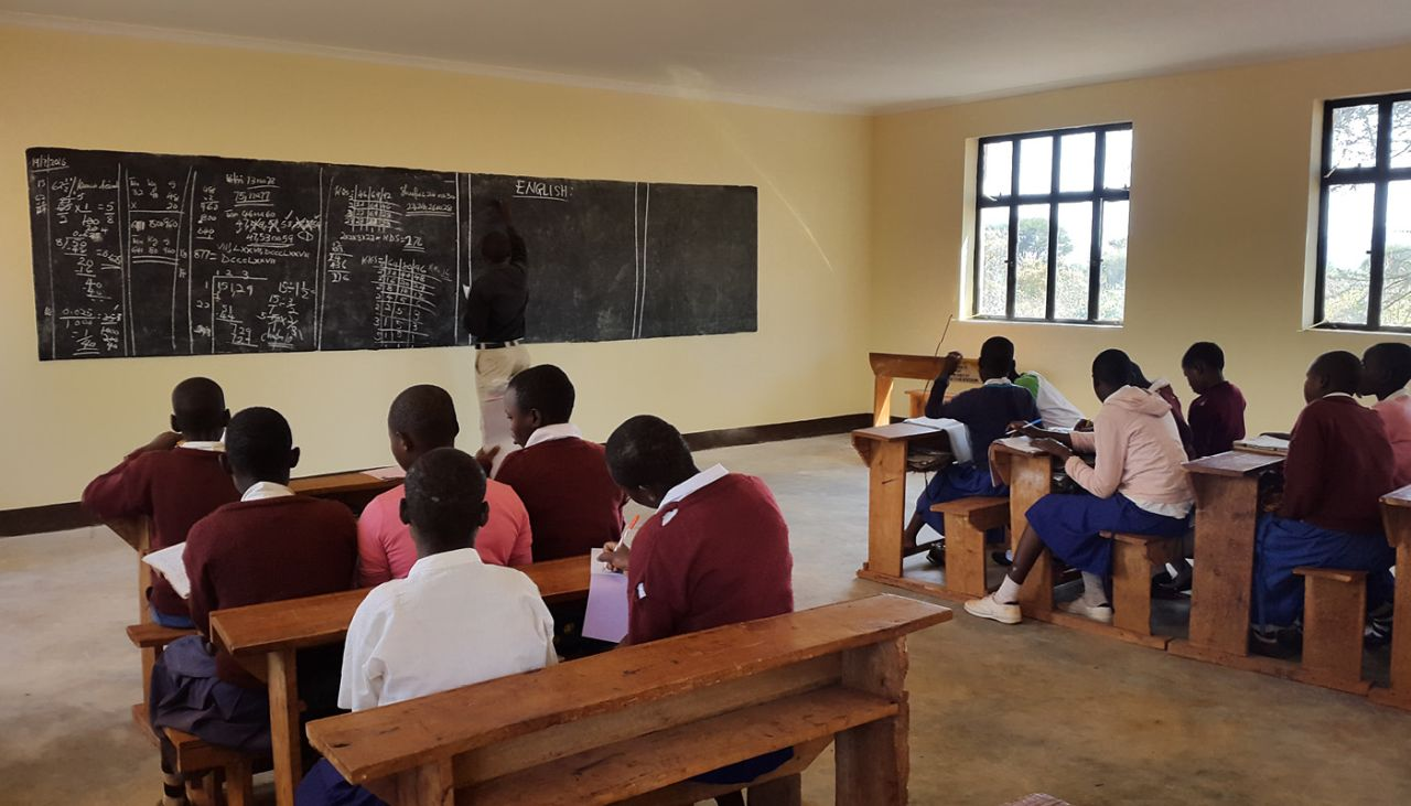 Grade seven kids enjoy their new classroom