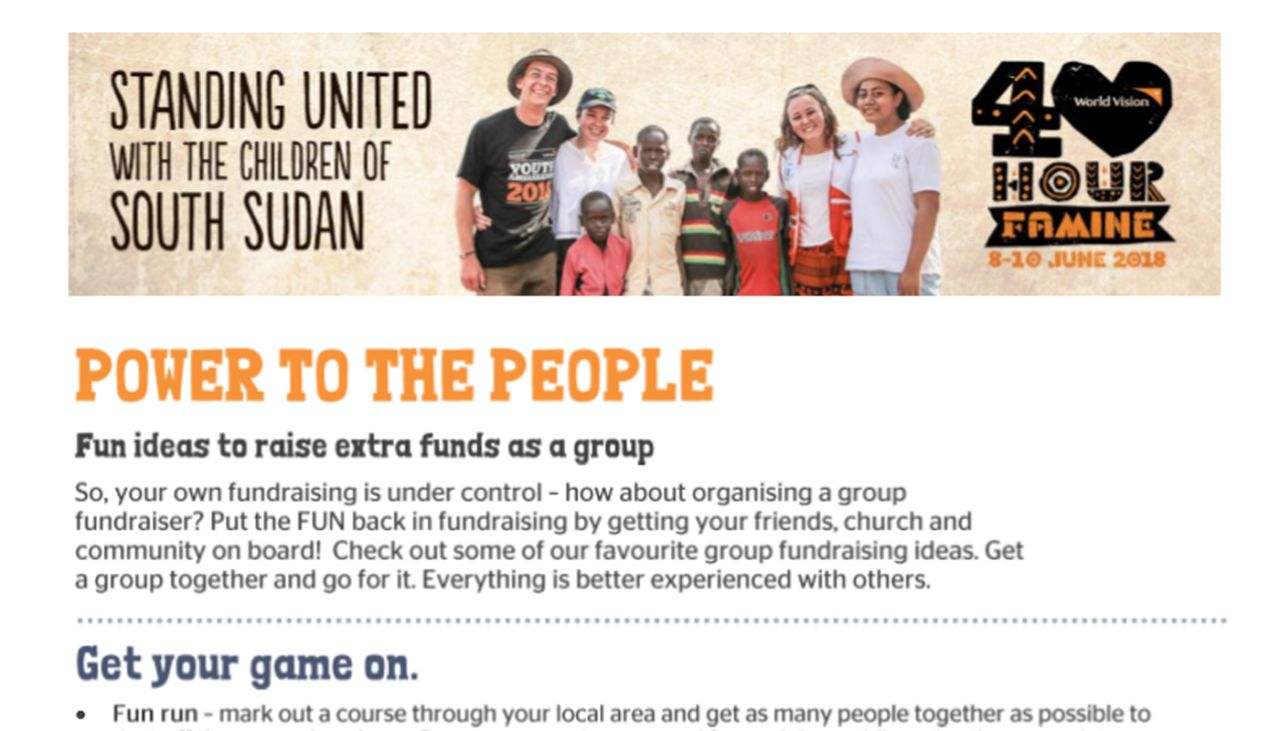 church group fundraising ideas | world vision new zealand