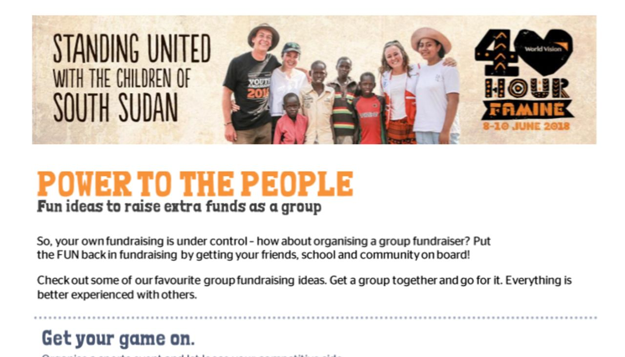 Group fundraising ideas   World Vision New Zealand