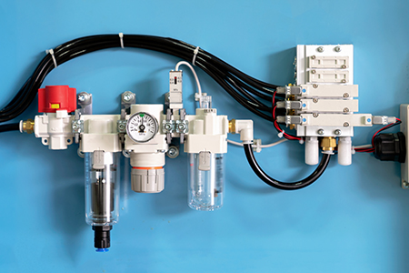 pneumatic pipe line machine with solenoid valve and control valve