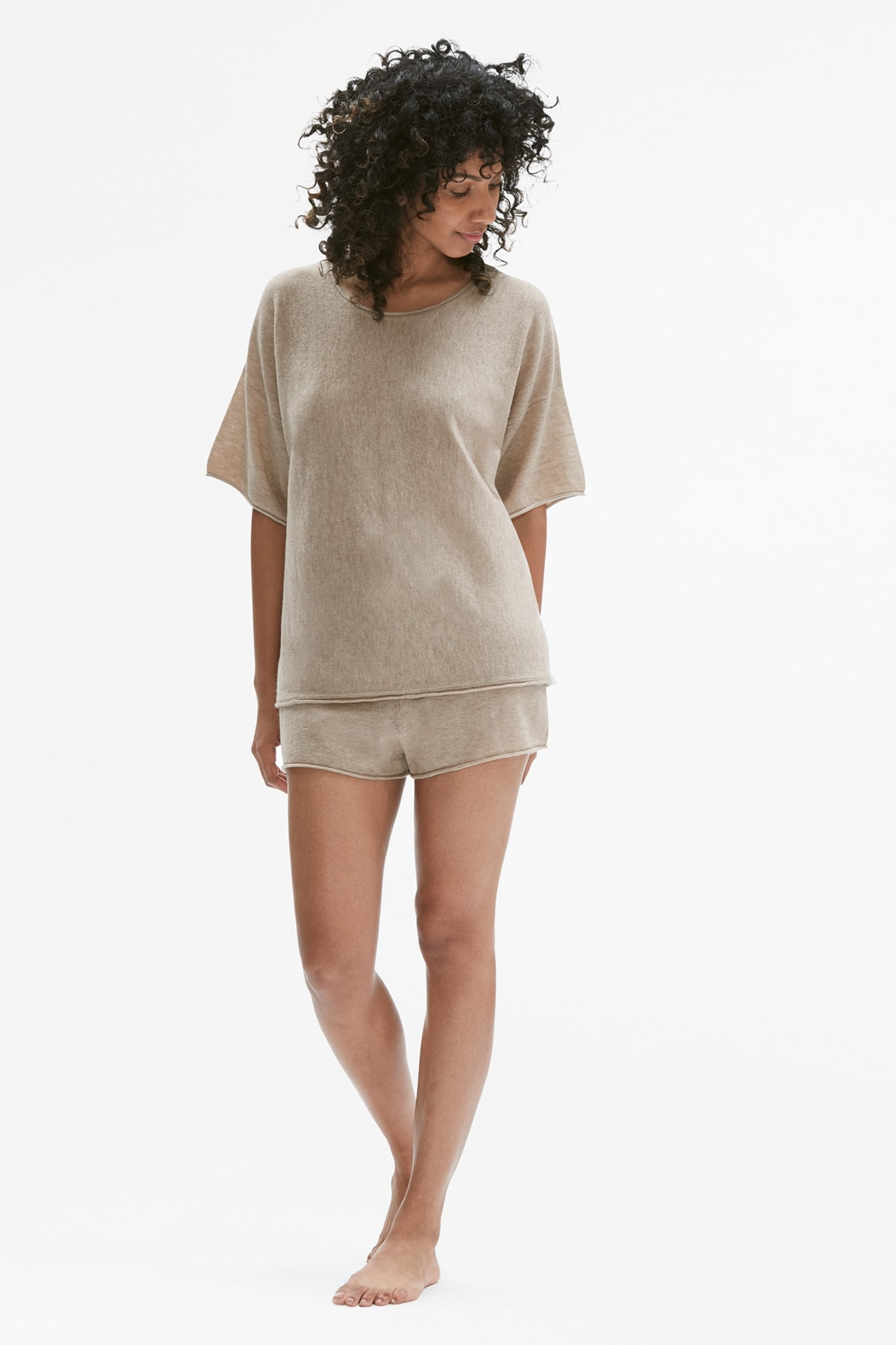 b37b62d3e3e8 Cashmere Pajama Set    Heather Oatmeal 1