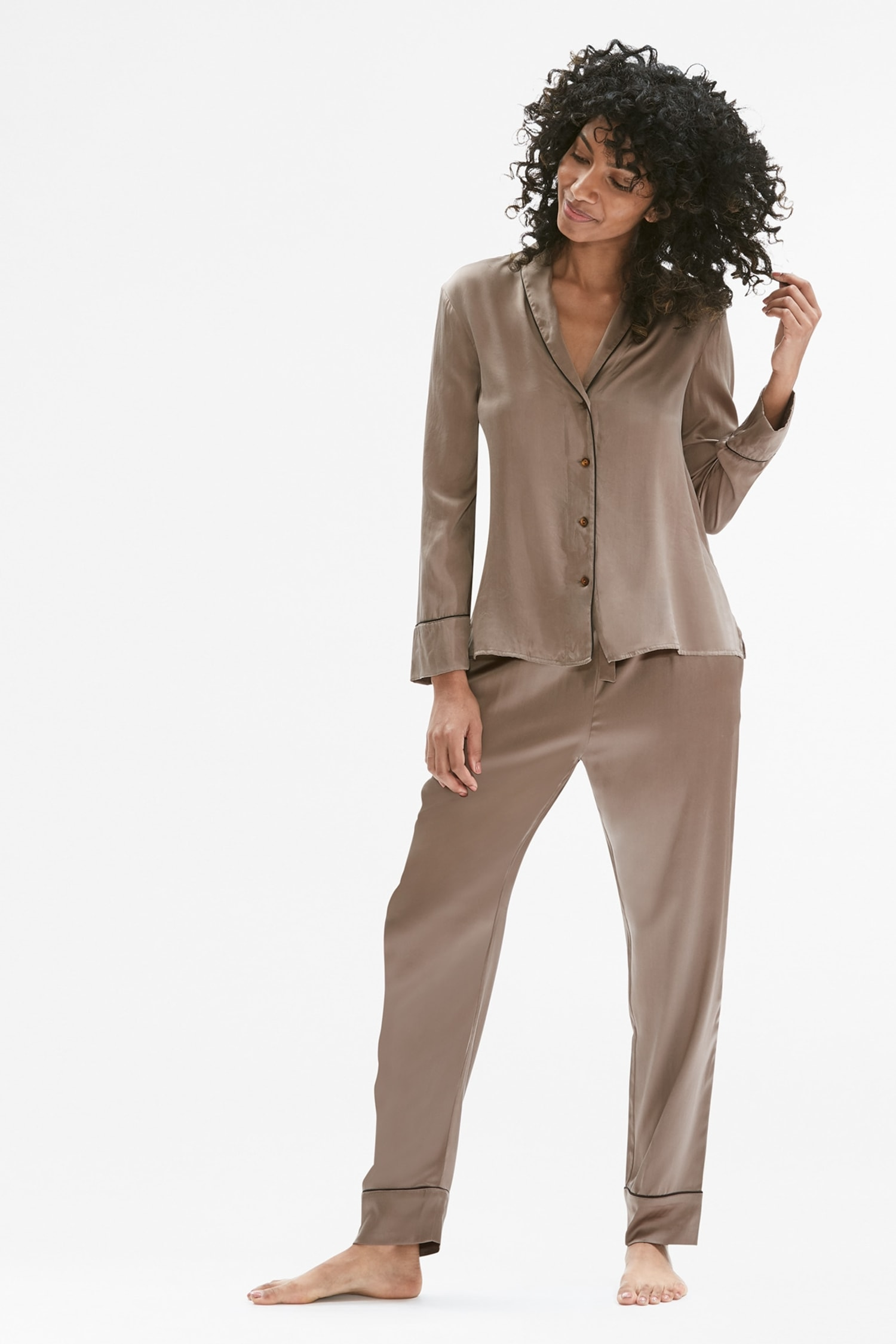 a8b2853f67be Silk Pajama Set    Taupe   Black 1