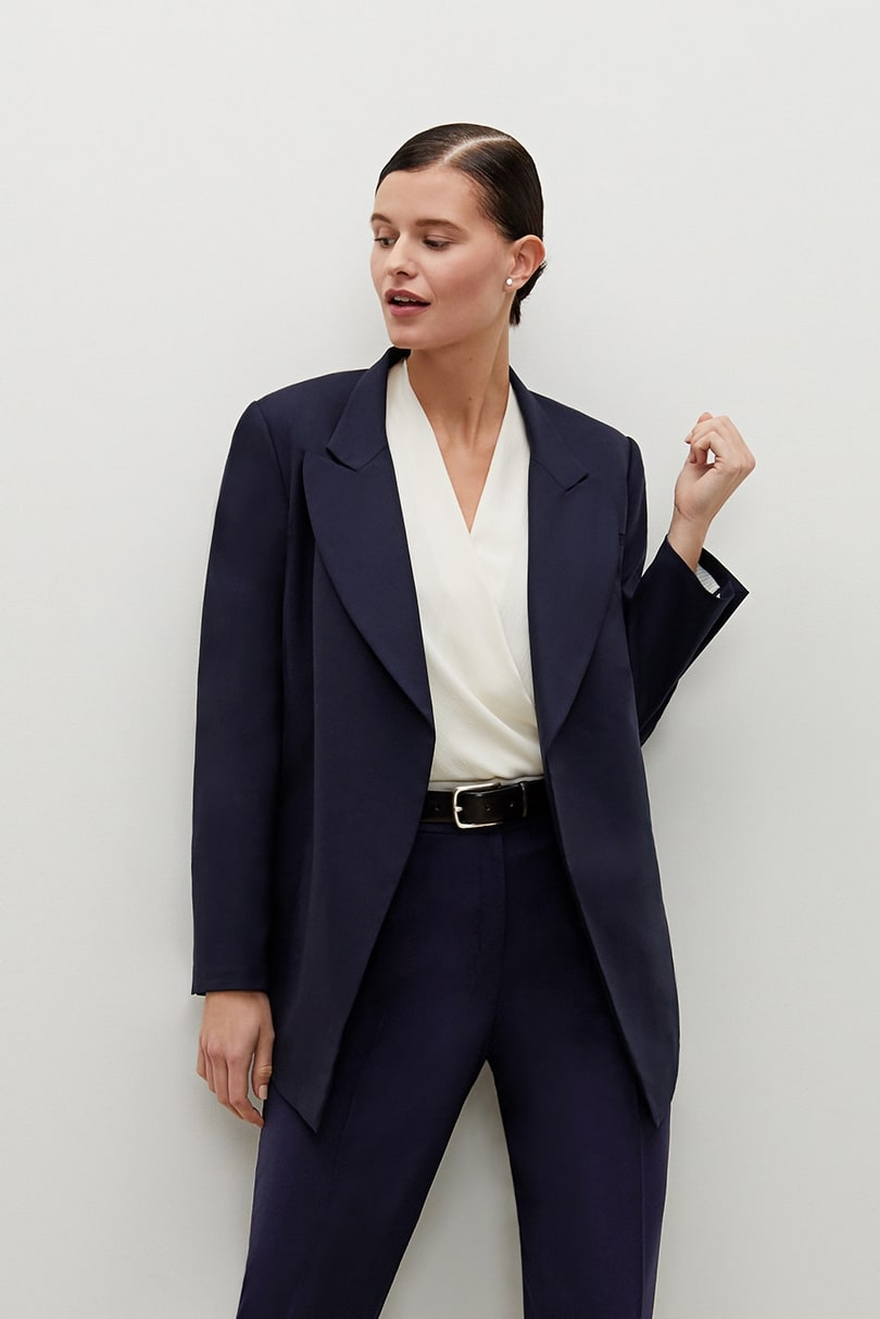 The Oliver Jacket—Tropical Wool - Galaxy Blue | M.M.LaFleur