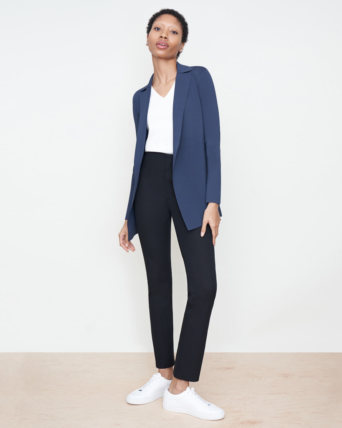 navy blazer black pants How to Wear Navy and Black Together: 7 Chic Looks for Work