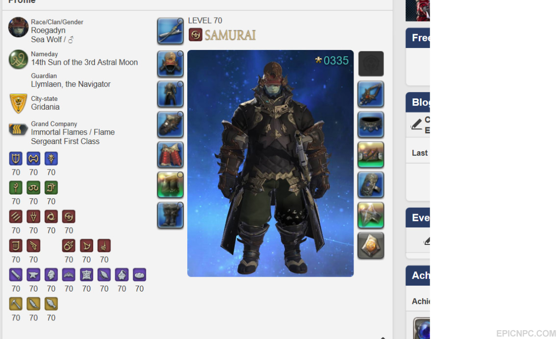 selling high end selling ffxiv account on gilgamesh all class 70