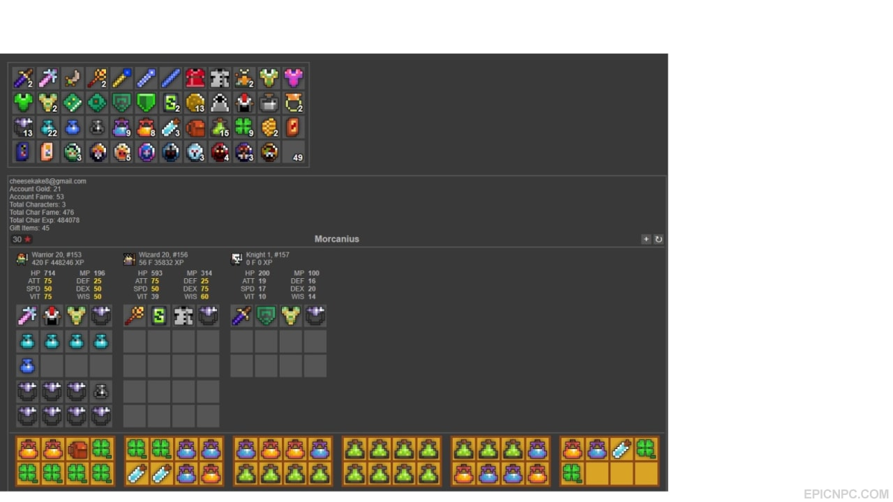 selling selling rotmg red star acc