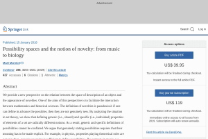 Possibility spaces and the notion of novelty: from music to biology