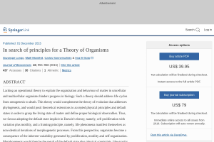 In search of principles for a Theory of Organisms