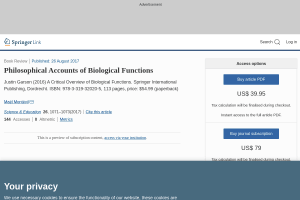 Philosophical Accounts of Biological Functions