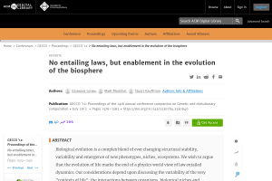 No entailing laws, but enablement in the evolution of the biosphere