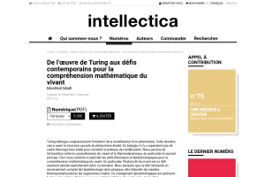 De l'œuvre de Turing aux défis contemporains pour la compréhension mathématique du vivant