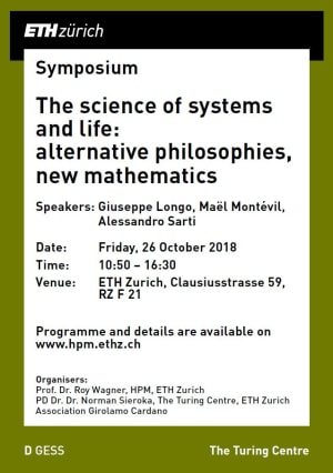 """Cover slide from the talk """"Symposium: The science of systems and life: alternative philosophies, new mathematics"""""""