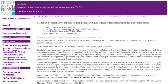 """Cover slide from the talk """"L'individuation biologique : approche épistémologique et théorique"""""""