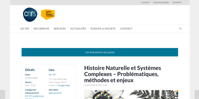 """Cover slide from the talk """"Les organisations biologiques entre interdépendances systémiques et historicité : le cas des disruptions dues au changement climatique"""""""