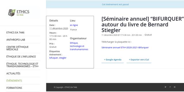 """Cover slide from the talk """"Entropie et Anthropocène"""""""