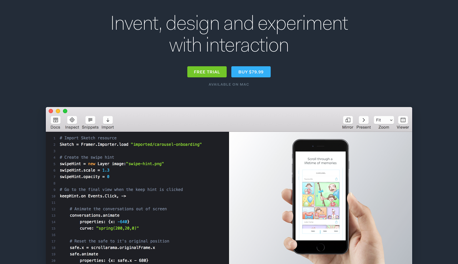 Framer is a new creative tool to build interaction and animation prototypes.