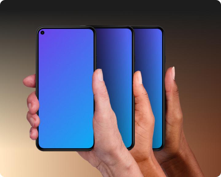 Diverse hands holding mobile device mockups