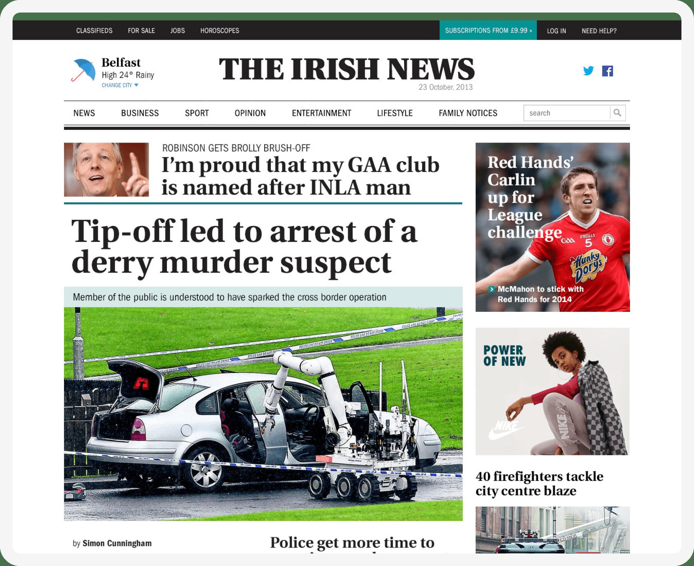 The Irish News Homepage