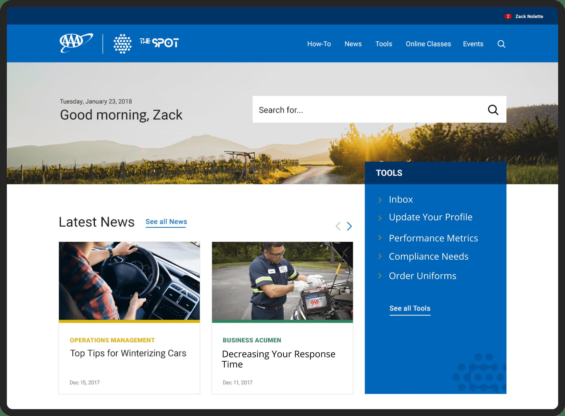 AAA The Spot homepage