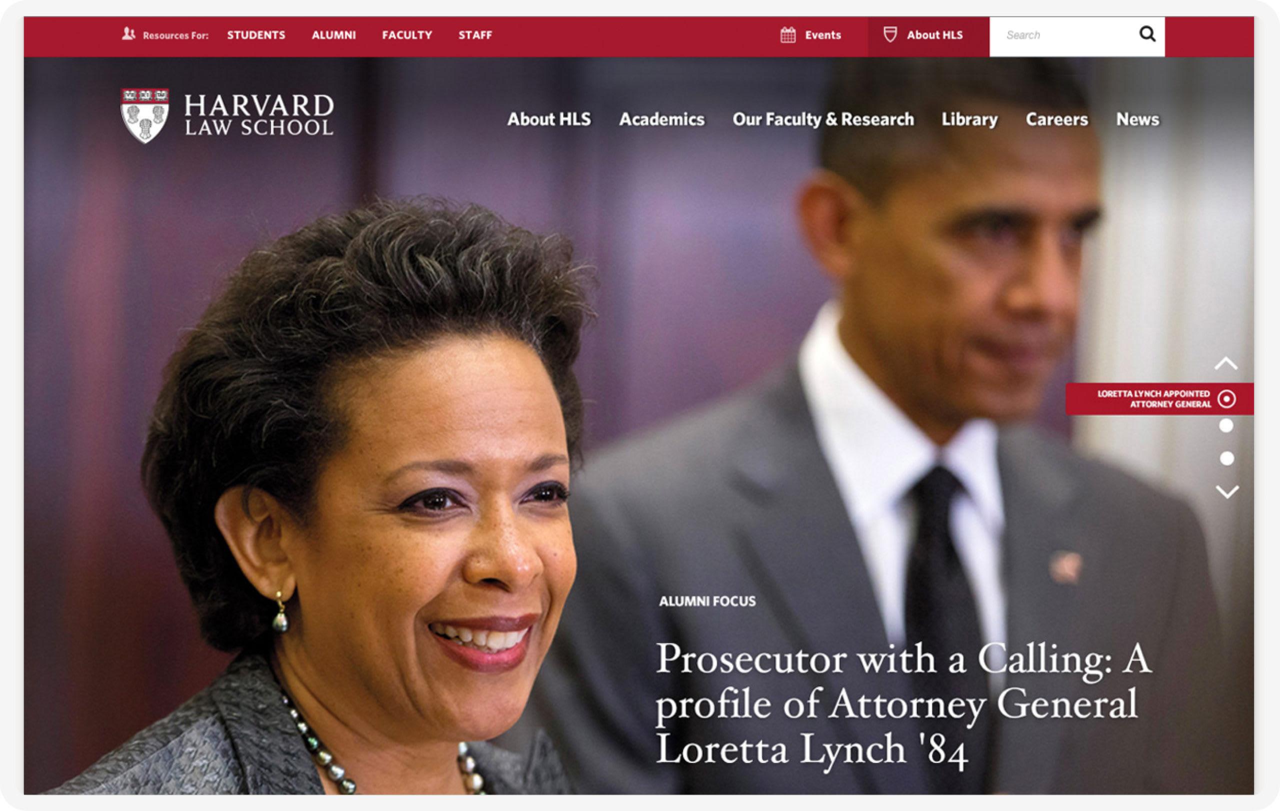The Harvard Law School homepage featuring Loretta Lynch and Barack Obama