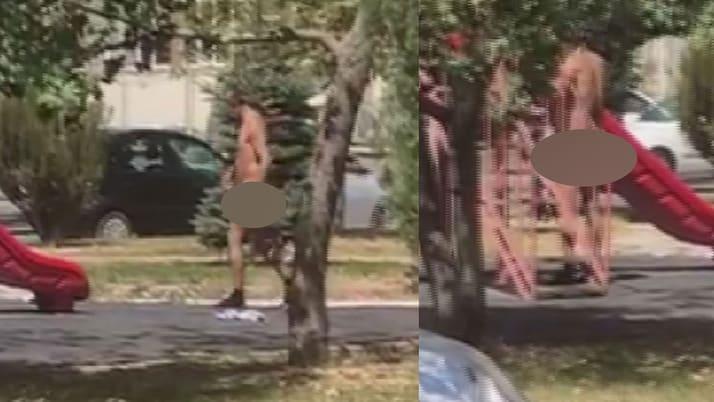 Sivas'ta çıplak adam rezaleti! Çocuk parklarına gidip çırıl çıplak soyunup dolaşıyor