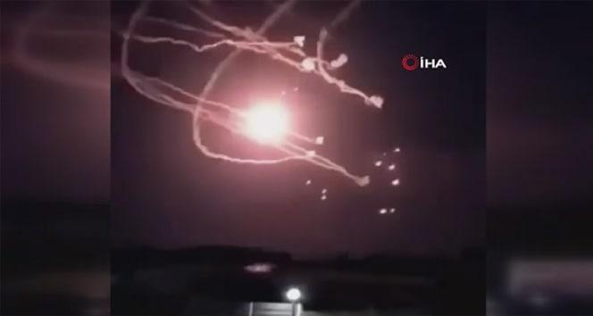 Ermenistan'dan atılan roketin Azerbaycan savunma sistemi tarafından engellendiği anlar