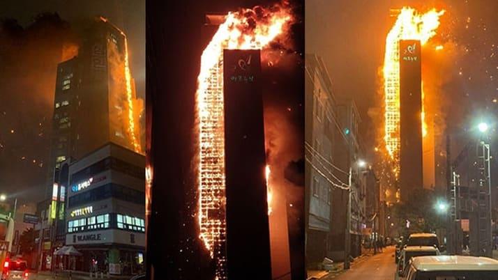 Güney Kore'de gökdelen yangını