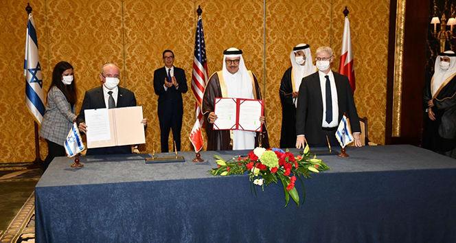 İsrail ve Bahreyn içinde diplomatik ilişkilerin kurulmasına dair antak kalma imzalandı