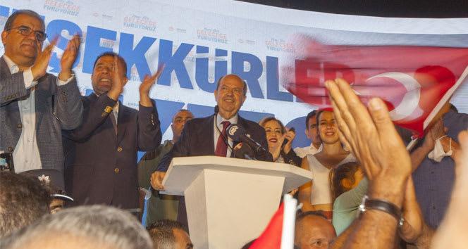 KKTC'nin yeni Cumhurbaşkanı Ersin Tatar'dan zafer hitabı