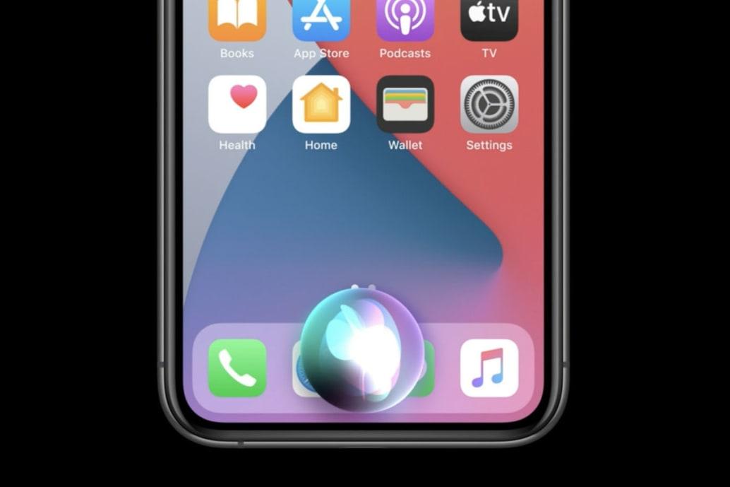Siri artık tam ekran ele geçirme yerine düzgün küçük parlayan bir küre.