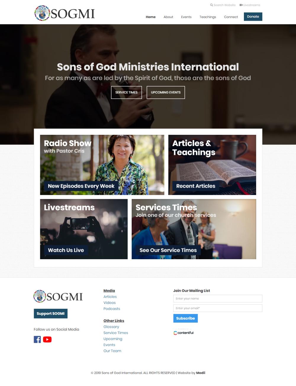 Responsive homepage for SOGMI