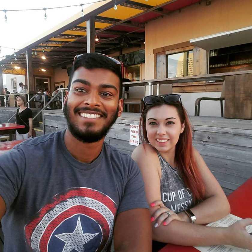 Josh and Aimee Ravichandran at a restaurant <left>