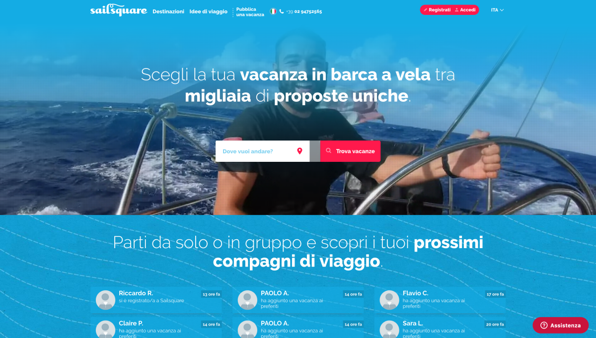 Screenshot della homepage di Sailsquare.com