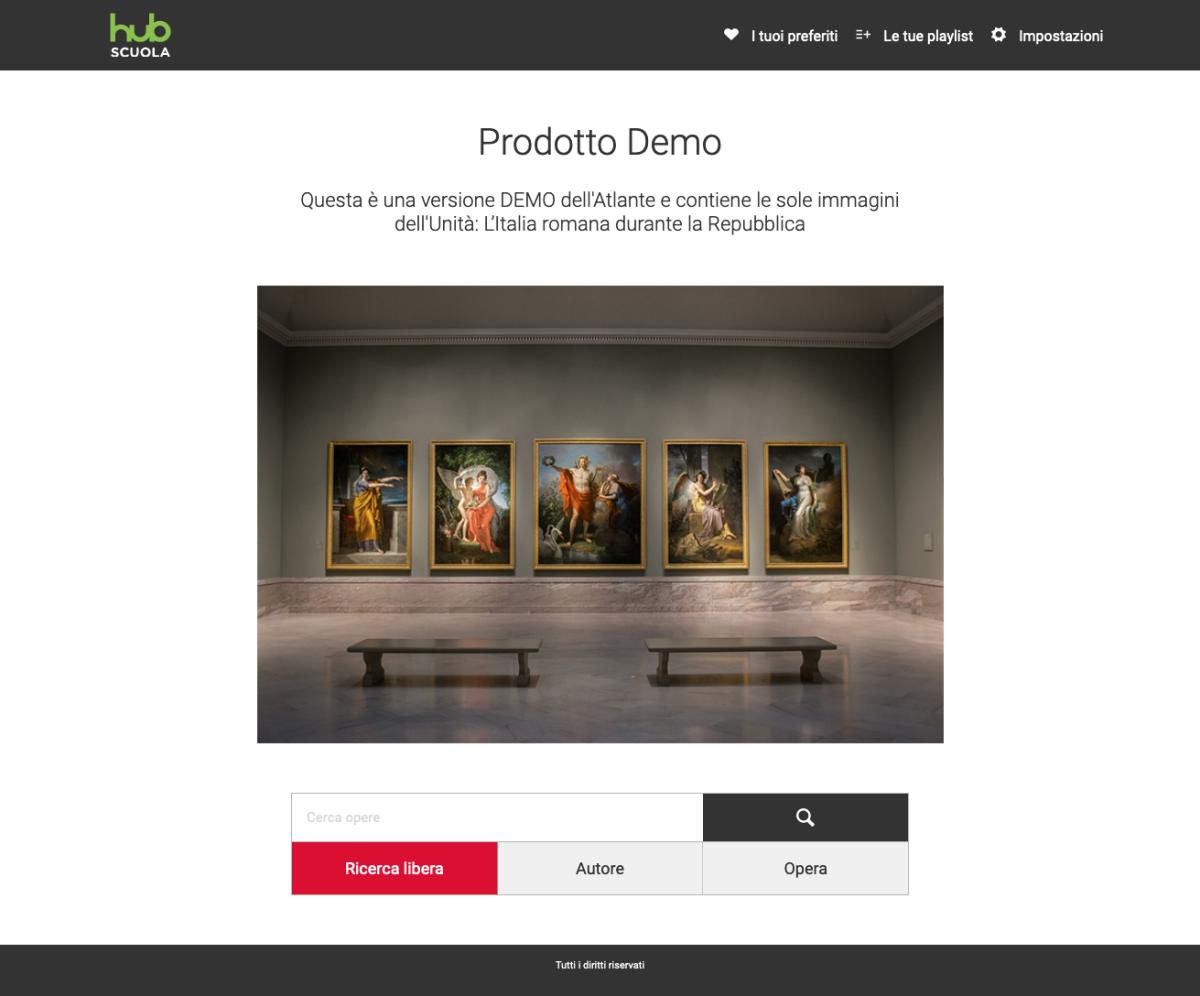 Homepage del catalogo immagini Hub Scuola