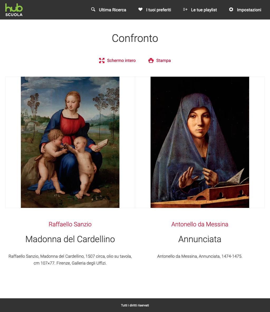 Confronto tra due immagini all'interno dell'app Hub Scuola Arte