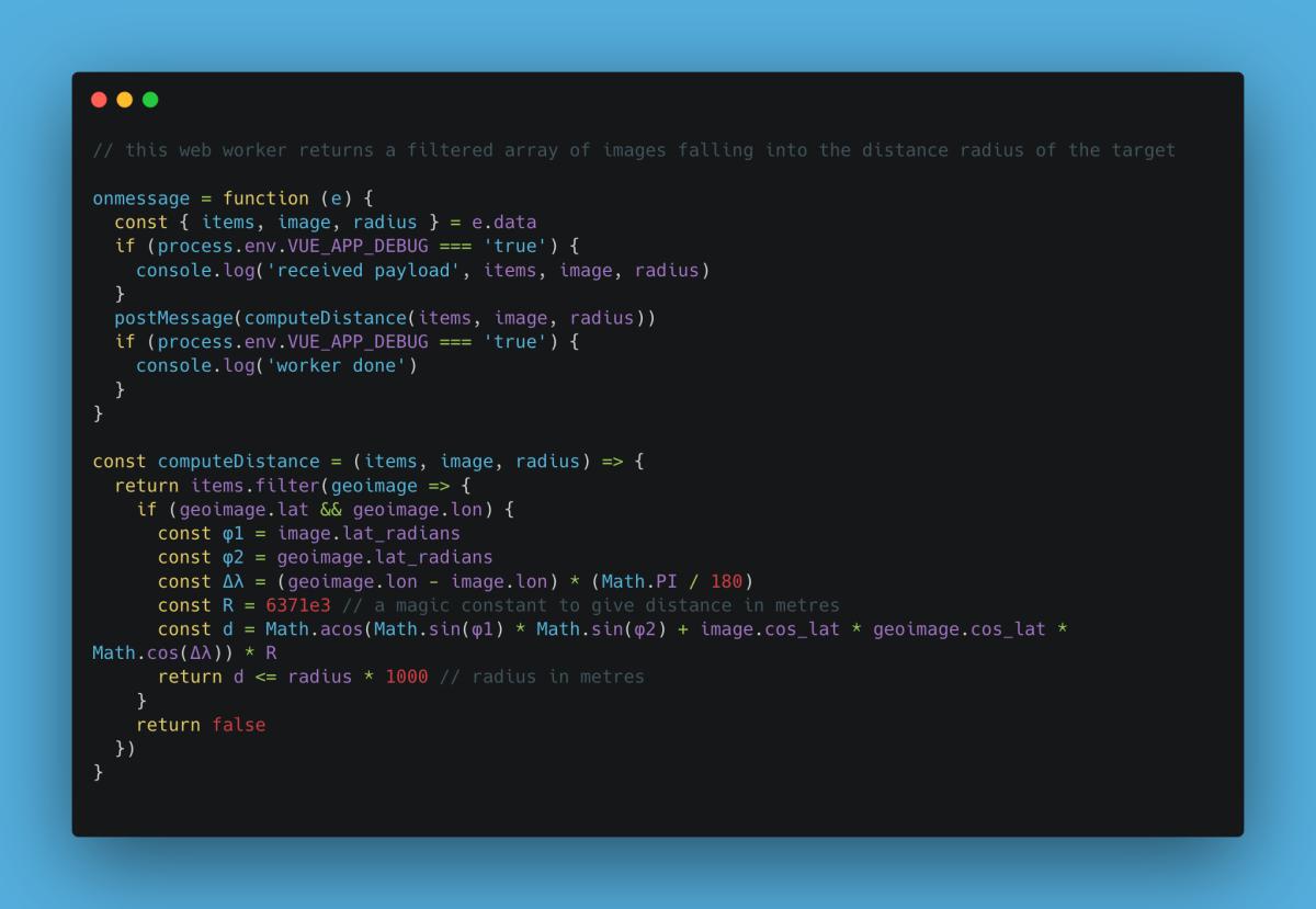 Una vista del codice del Web Worker che calcola l'intorno geografico