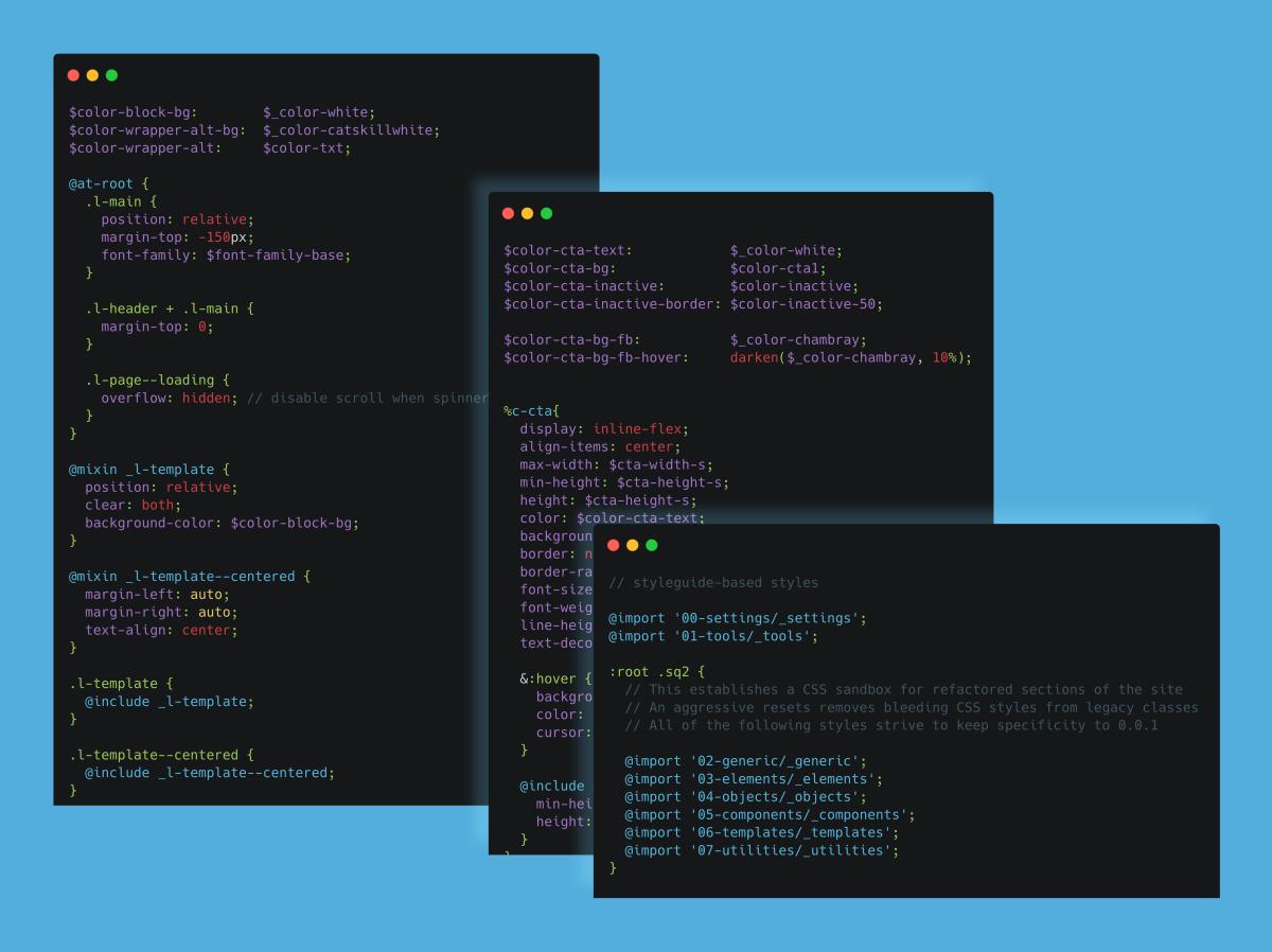 Esempio di codice SASS sviluppato per Sailsquare.com