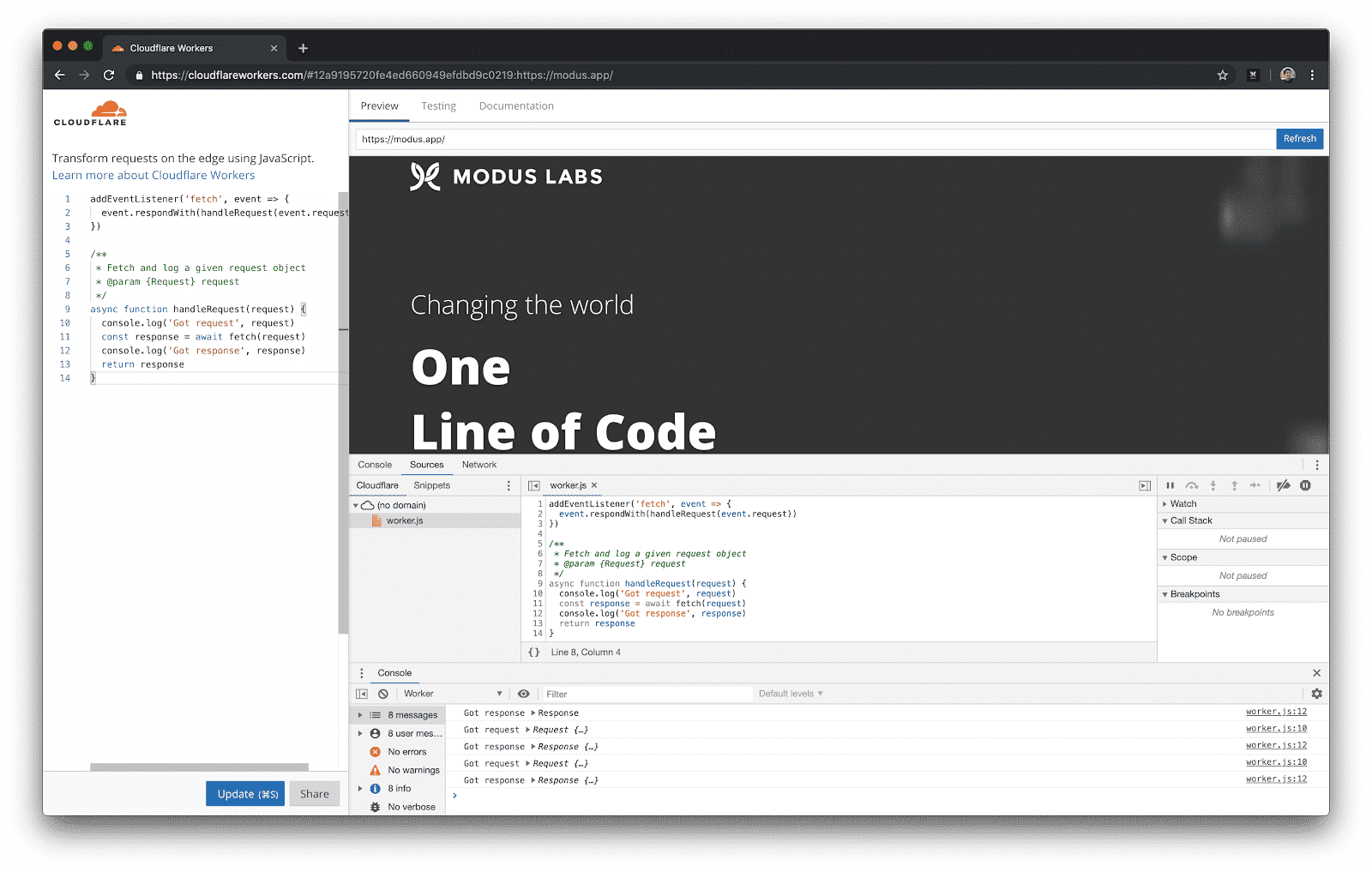 Cloudflare Workers and Chrome Dev Tools