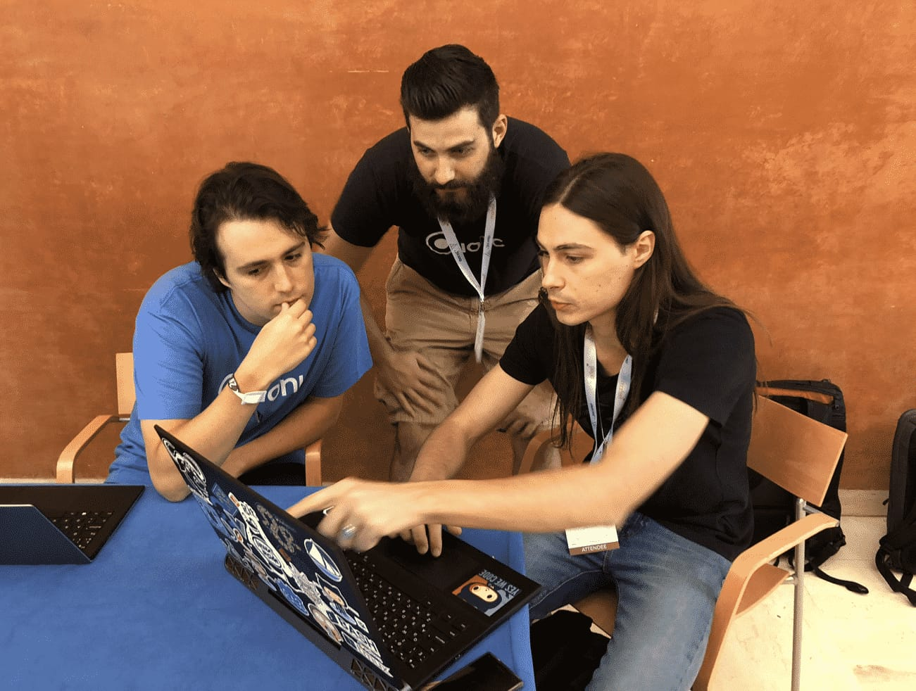 Michael Tintiuc demoing Ionic Vue integration to Mike Hartington and Manu Almeida in Barcelona