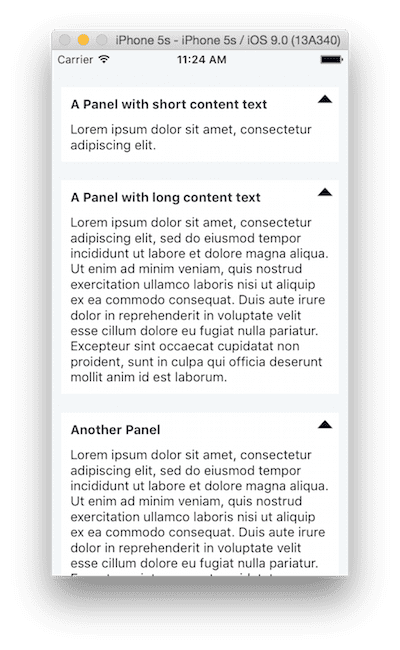 Restarted Packager with multiple panel settings displayed with sample text
