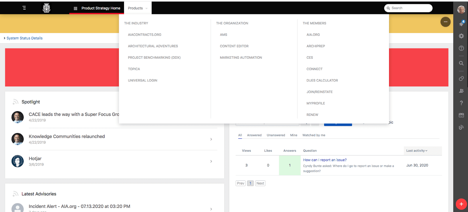 AIA Portal Menu Screenshot